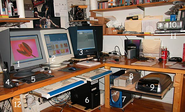Larry Berman's dual computer dual monitor graphics system